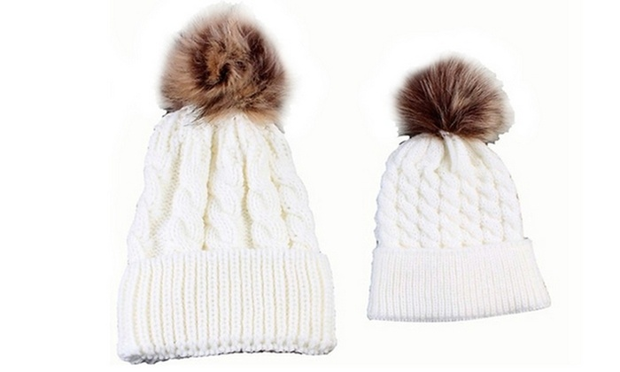 Up To 68% Off on Mom and Baby Hat Set (2-Piece)  78e07822f0ff