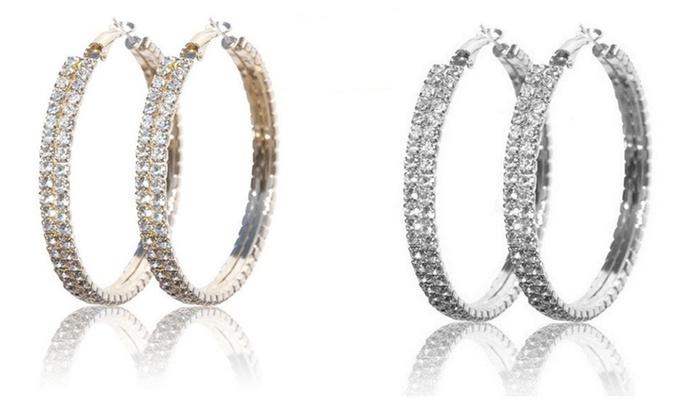 Crystal Hoop Earrings In Swarovski Elements Groupon