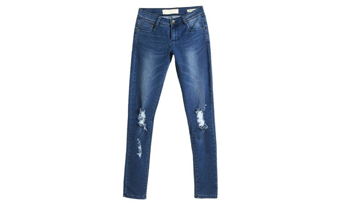 Women's Mid Rise Casual Simple Jeans