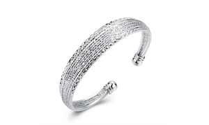 Silver Plated  Glitter Design Lining Classic Women's Bangle