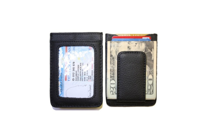 Card Leather Credit Id Holder Money Clip Slim Wallet