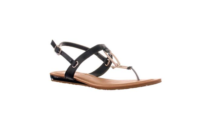 Riverberry Women's 'Saili' Metal Hardware T-strap Flat Sandal, Black