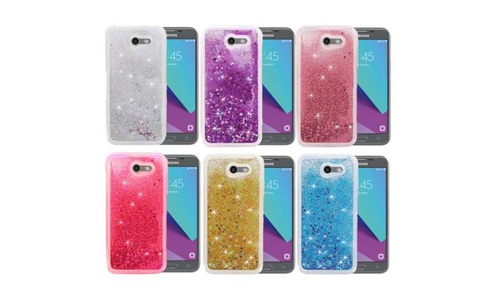 441 Cell: Liquid Glitter Gel Case & Glass Protector Samsung J7 Prime (2017)