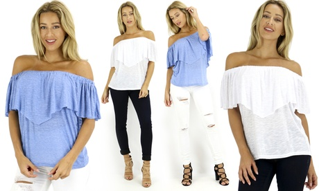 Ruffle Off Shoulder Top a3bd2c16-c3ca-48b3-aba3-fdffe2da4ad3