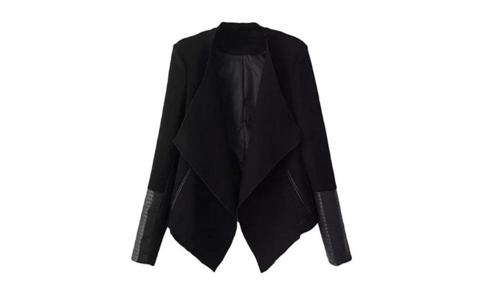 Women's Cozy Black Long Sleeve Contrast PU Leather Zipper Coat
