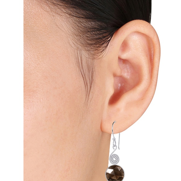Genuine 12 mm Naturel Quartz Rose gemme Leverback Drop Dangle Earrings