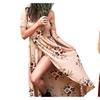 Women Floral Print Chiffon Dresses Off Shoulder Wrapped Chest Long Dress