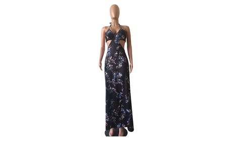 Women's Sexy Sleeveless Backless Halter Lace Up V Neck Floral Dresses 5a386736-05f2-4401-b06e-5073748a77fb