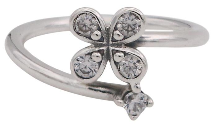 fe57eeca5 PANDORA Four-Petal Flowers Twisted Ring - 54 | Groupon