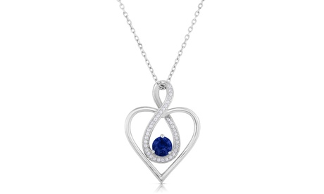5/8cttw Lab Created Sapphire Heart Infinity Pendant in Sterling Silver a41a18f1-f1f4-4f8a-aeec-ab9bc6c63f8d