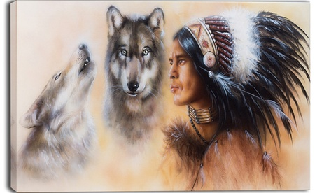 Indian Warrior with Two Wolves - Large Animal Canvas Art Print 07ae9a1c-c045-4052-bd7d-49dd053f28cd