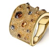 Rhinestone Gold Color Multicolor Ring for Women