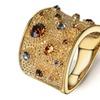 Gold Color Multicolor Rhinestone Women's Ring