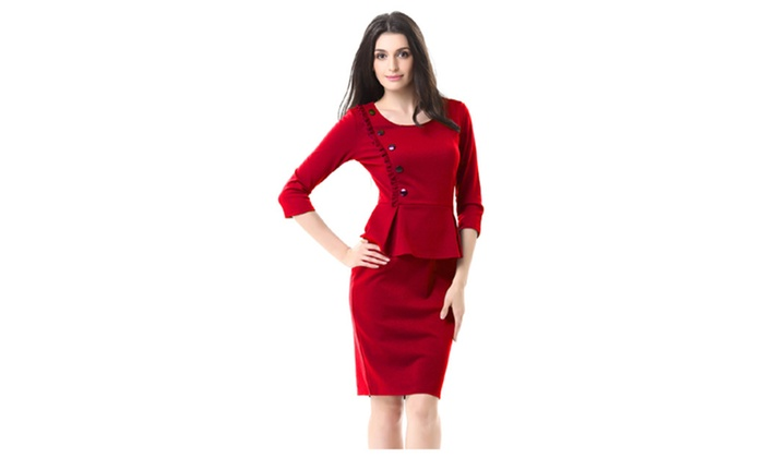 Women Fit Bottom Round Neck Buttoned Styling Dress – TCWD425-TCWD426