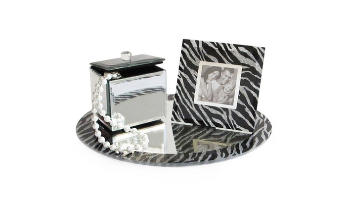 Zebra Print Round Mirror Vanity Set With Picture Frame And