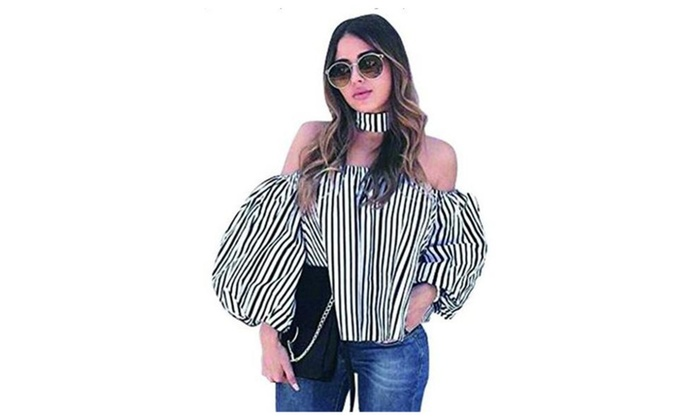Women's word shoulder striped shirt lantern sleeve blouse