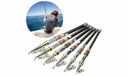 Carbon Fiber Telescopic Fishing Rod Sea Saltwater Portable Spinning Pole