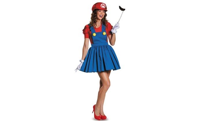 Super Mario: Mario w,Skirt Adult Costume Plus
