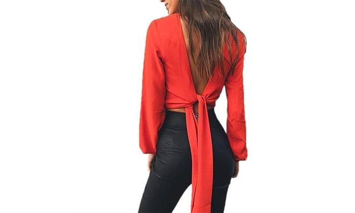 15a857d246cfd5 Women s Chiffon Sexy V-neck Backless Long Sleeve Bandage Crop Top Blouse  Shirt