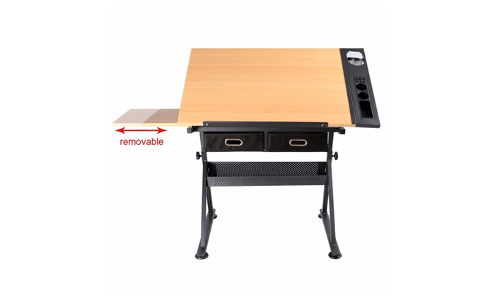 Tiltable Tabletop Drafting Drawing Table With Two Drawers And Stool