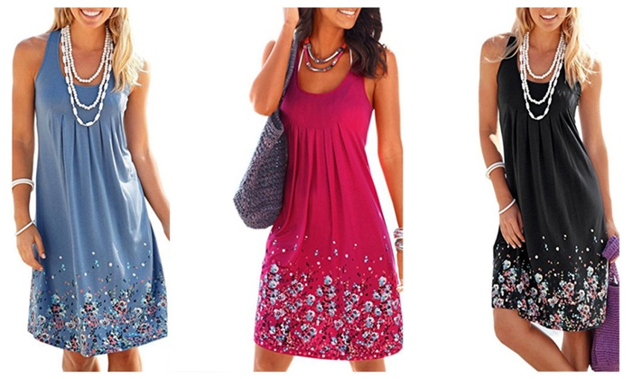 e3a704420efcd Womens Summer Casual Sleeveless Mini Printed Vest Dresses | Groupon