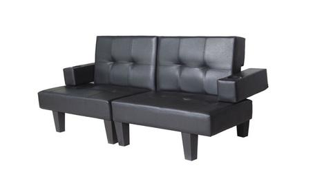 Leather Fold Down Futon Couch Sleeper Furniture Lounge Adjustable New 98ec206b-f867-4a80-b67a-8bc51b067829