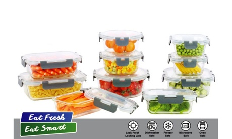 20 Piece Glass Storage Food Containers with Transparent and Clip-on Lids