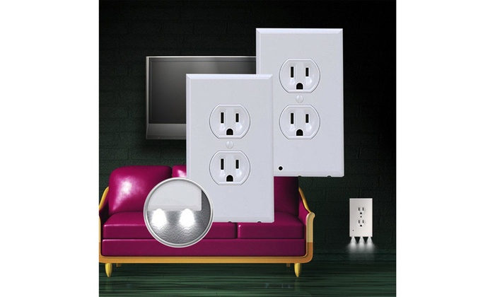 2 Pack Outlet Wall Plate With Led Night Lights No Batteries Or