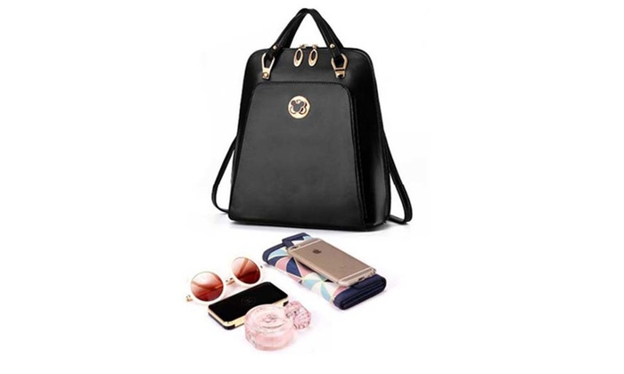 Womens Leather Solid Backpack