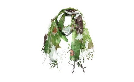 Women's Long Floral Scarf Wraps Shawl Stole Soft Scarves
