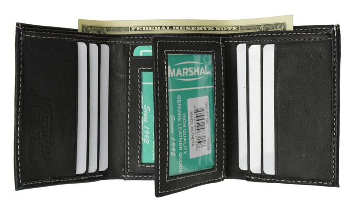 Men's Trifold Flap Id Card Holder Leather Wallet