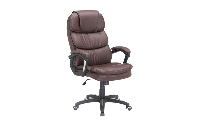 Attirant Luxury Brown High Back PU Leather Executive Office Chair Task Chair