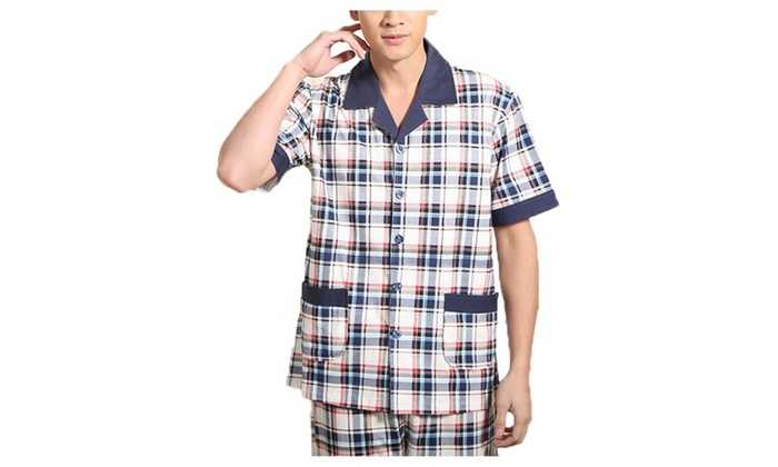 Men's Long Slim Fit Short Sleeve Graphic Casual Pajamas Set