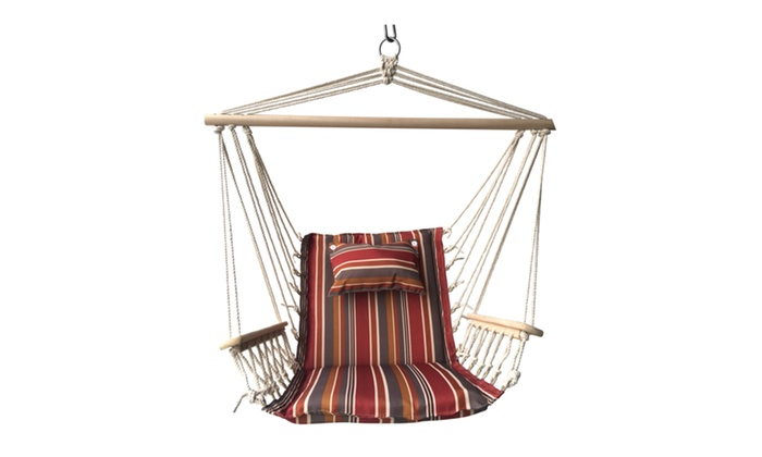 Backyard Expressions Hammock Chair With Wooden Arms ...