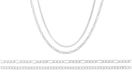 Solid Italian Curb and Figaro Chain Set in Sterling Silver(2 Pack) 0a9c245a-7588-4567-9d5e-656092023221
