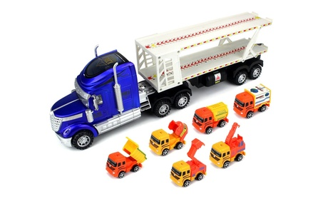 Super Construction Power Trailer Friction Toy Truck (Colors May Vary) ace2964c-d238-4c1f-806d-7076604679c9
