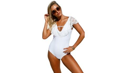 Women's White Lace Ruffle Cap Sleeve One Piece Swimsuit d1e2ba56-2b59-44aa-b65b-472b40c0ba70