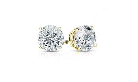 groupon.com - 14k Yellow Gold Round Lab Created White Sapphire Stud Earrings.