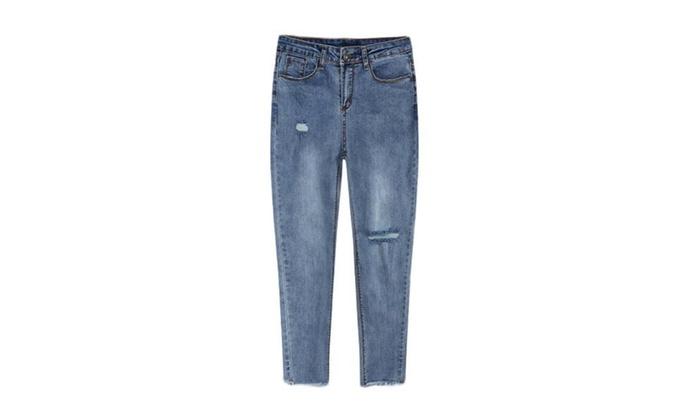 Women's Slim Fit ZipUpwithButtonClosure Long Jeans