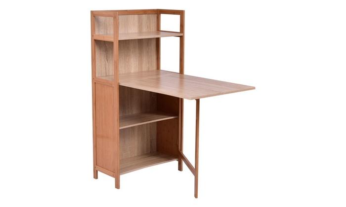 Fold Out Cabinet Folding Desk Convertible Workstation Book Shelf ...