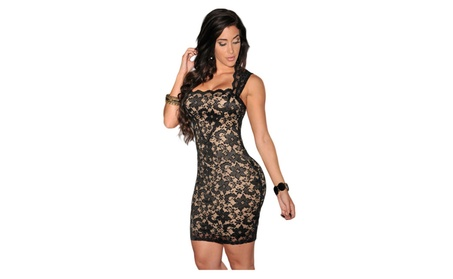 Women's Black Lace Nude Illusion Dress 6ebe3d23-12bf-4346-86b5-aca286d910ee