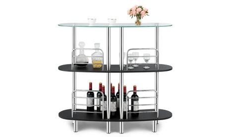 Costway Bar Table Wine Storage Home Liquor Pub Table w/ 2 Shelves