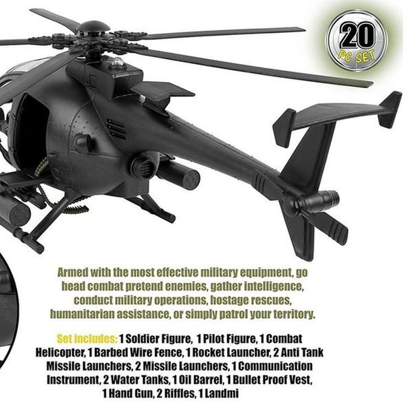 Military Combat Attack Helicopter pilot soldier 20Piece PlaySet with Accessories