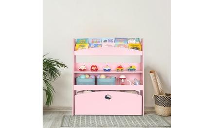 Kids Toy Storage Bookshelf, Children's Organizer Cabinet Unit for Playroom, Pink
