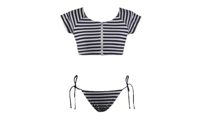 Women's Pullover Beach Slim Fit Casual Colorblock Bikini Sets