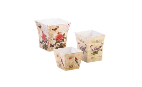 Set of 3 Floral Pattern Garden Planter Vintage Look e6e56549-c27a-4724-b315-5f12f865757b