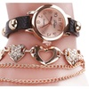 Gold Heart Chain Leather Wristwatch For Women