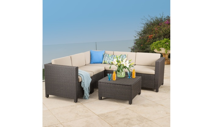 Francisco Outdoor Wicker Sectional Sofa Set (6-Piece)