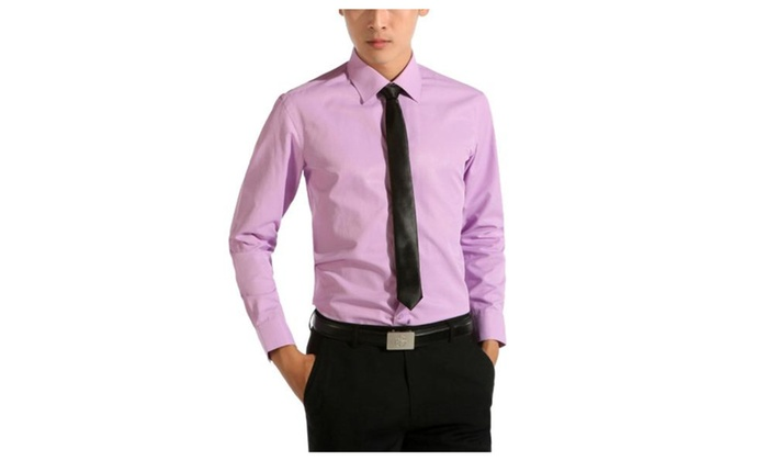 Men's Solid Slim Fit Buttons Up Long Sleeve Simple Shirt
