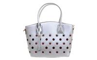 Silver Funky Retro Grommet Handbag Vegan Leather Crossbody Purse (4everfunky) photo
